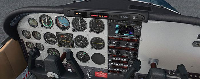 The A2A Skylane cockpit