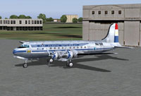 Screenshot of KLM Douglas DC-4 on the ground.