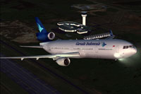Screenshot of Garuda Indonesia McDonnell Douglas MD-11 taking off.
