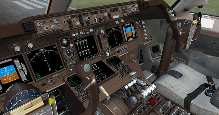 3D virtual cockpit which is highly detailed