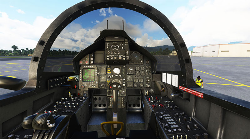 The fully functional 3D VC and canopy of the F-15 in MSFS.
