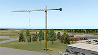 Freestanding 70m crane.
