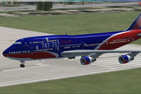 Screenshot of Boeing 747-400 on runway.