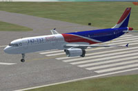 Screenshot of 747-737 Jet Hops Livery Airbus A321 on runway.