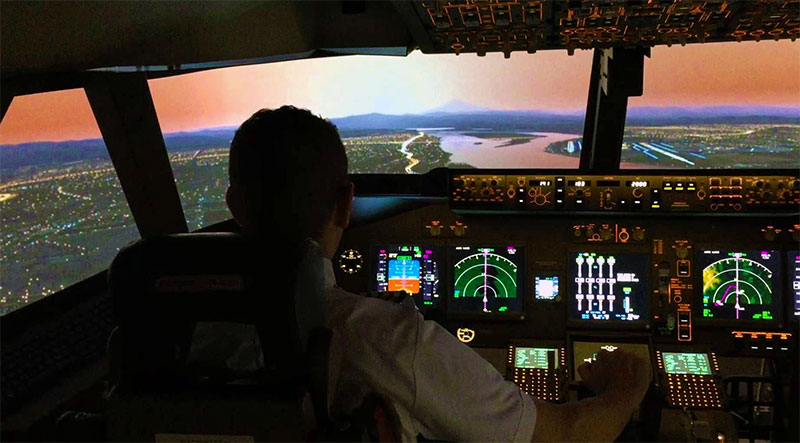 Example of a 747 cockpit running FSX.