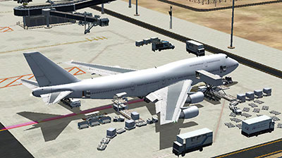 Example of Boeing 747 at parking ramp after installing the AFCAD scenery file in this pack.
