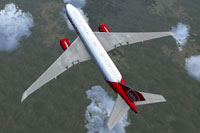 Top down view of Air Berlin Boeing 777-200LR in flight.