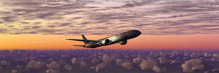 Boeing 777 at dusk