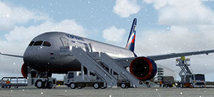 Aeroflot Boeing 787 on ground in P3Dv4.