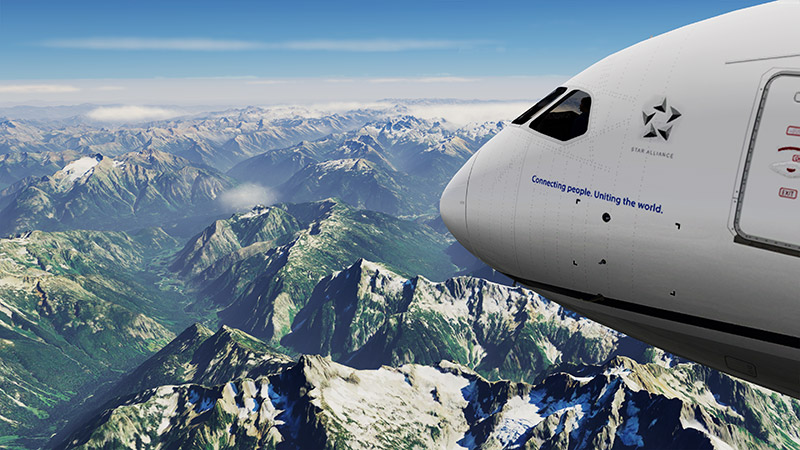 A Boeing 787 flying over the mountains in Washington in P3Dv5 using the photoreal scenery mod.