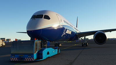 Boeing 787 pushback with tug in MSFS 2020.