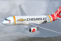 Screenshot of A320-200 in Cevrolet livery.