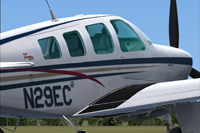 Screenshot of A36 Bonanza N29EC on the ground.