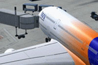 Screenshot of Myanmar Airways International A380-800 at the gate.