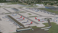 Aerial view of Gatwick International Airport, London.