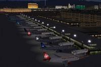 View of McCarran International Airport at night.