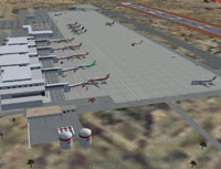 Aerial view of Lanzarote Airport scenery.