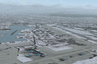 Aerial view of Anchorage International Airport.