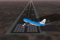 Screenshot of plane taxiing to runway at Schiphol Airport.