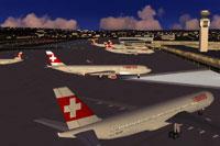 Screenshot of Zurich Kloten Airport.