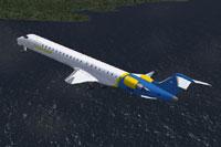 Screenshot of AGALink Bombardier CRJ-900 in flight.