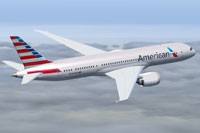 Screenshot of American Airlines Boeing 787-8 in flight.