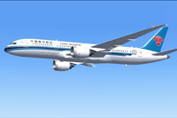 Screenshot of China Southern Airlines Boeing 787-8 in flight.