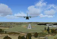 Screenshot of plane approaching runway.
