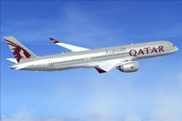 Screenshot of Qatar Airbus A350-900 in flight.