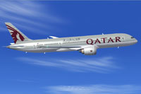 Screenshot of Qatar Boeing 787-8 in flight.