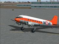 Screenshot of AMI Douglas DC-3 on the ground.