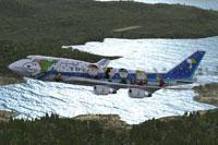 Screenshot of ANA Boeing 747 in flight.