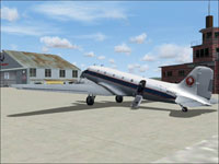 Screenshot of ANA Douglas DC-3 on the ground.