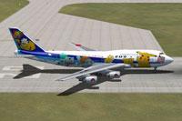 Screenshot of ANA Pokemon Jet on runway.