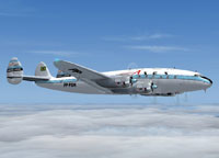 Side view of ASAS Lockheed Constellation in the air.