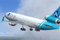 Screenshot of AV Cargo McDonnell Douglas MD-11F in the air.