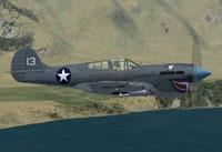 Screenshot of Curtiss P40K in flight.