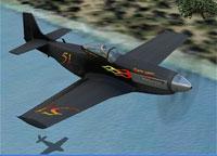 Screenshot of Malibu Motorsports P-51 in flight.