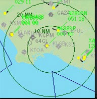 Screenshot of the active radar in use.