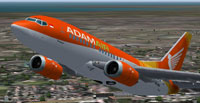 Screenshot of Adam Air Boeing 737-500 in the air.