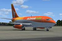 Screenshot of Adamair Boeing 737-200 on the ground.