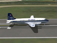 Screenshot of Aden Airways C-4 Argonaut on runway.