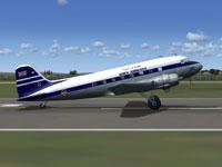 Screenshot of Aden Airways Douglas DC-3 on runway.