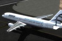 Screenshot of Aegean Airbus A320 IAE taxiing to runway.