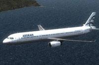 Screenshot of Aegean Airbus A321 in flight.