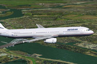 Screenshot of Aegean Airlines Airbus A321-200 in flight.