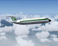 Screenshot of Aer Lingus BAC One-Eleven 208 in flight.