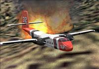 Screenshot of Aero Union DeHavilland Caribou flying over a fire.