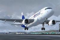 Screenshot of AeroGal Airbus A319-132 taking off.