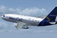 Screenshot of AeroGal Boeing 737-200 in flight.